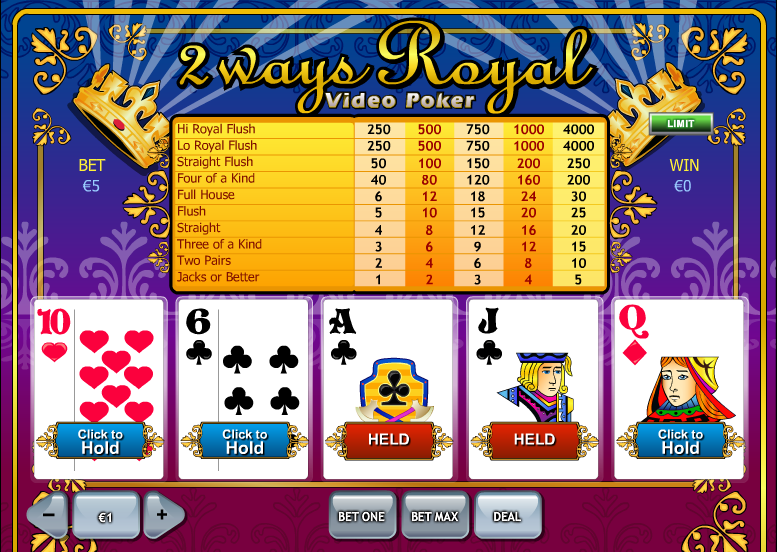 Play 2 Ways Royal Videopoker Online at Casino.com NZ