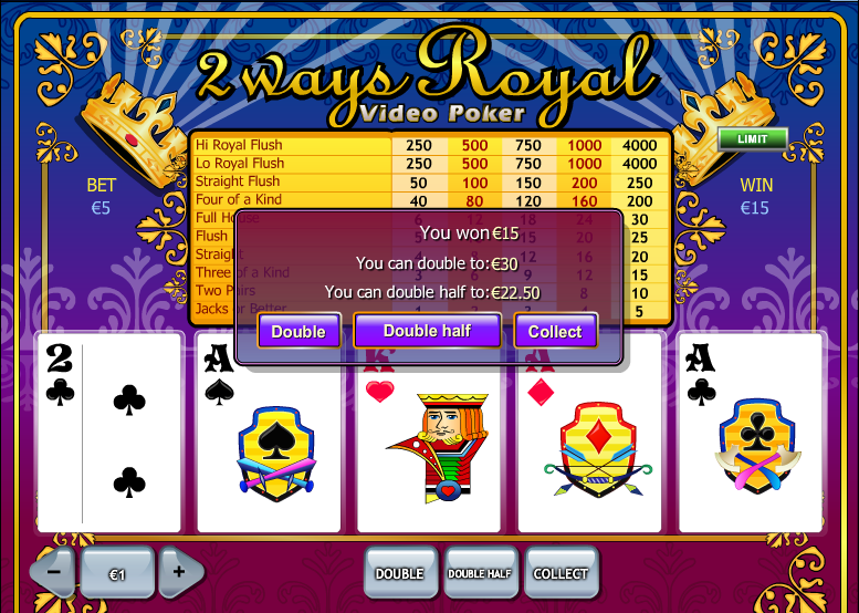 Play 2 Ways Royal Online Video Poker at Casino.com UK