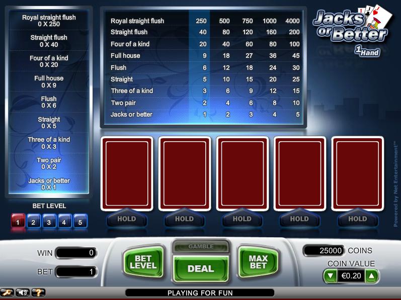 Video poker jacks or better basic strategy