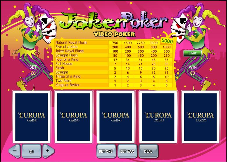 free online casino no deposit joker poker