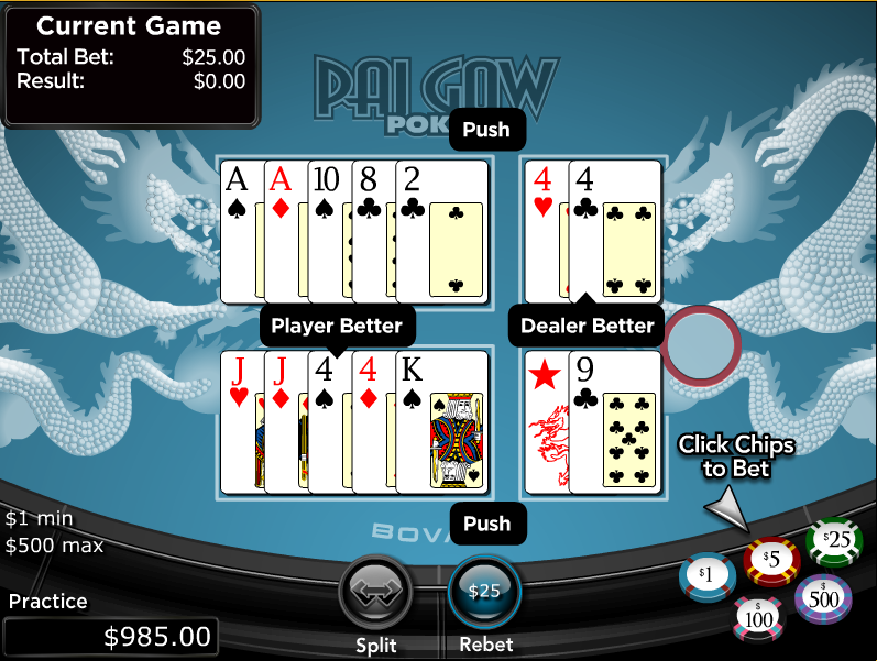 Play Pai Gow Video Poker Online at Casino.com India
