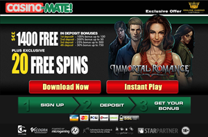 20 Free Spins on Immortal Combat Slot