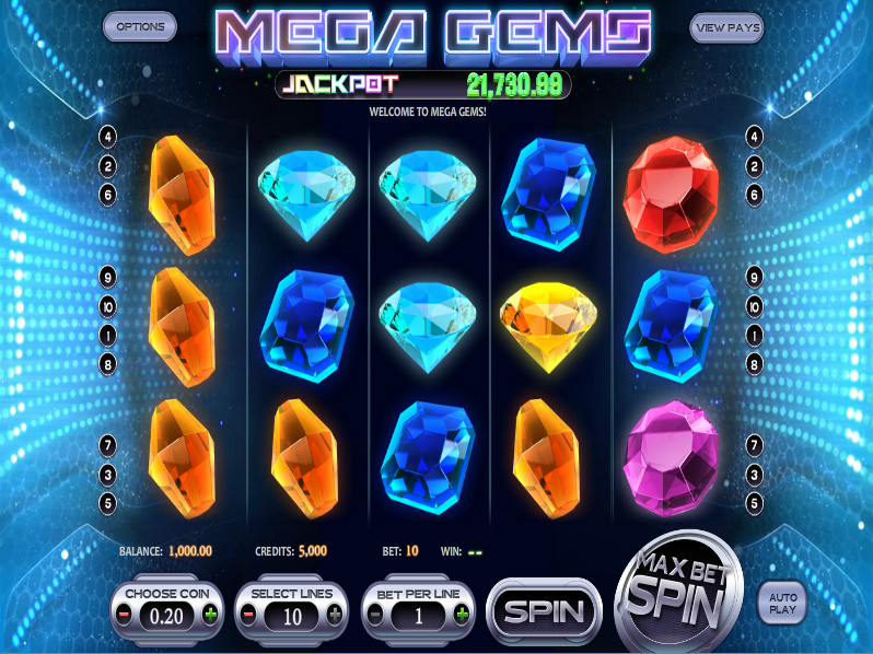 Mega Gems Slot Machine – Free Online Casino Game & Review