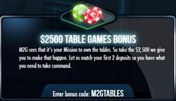 Mission2Games Table Games Bonus Codes